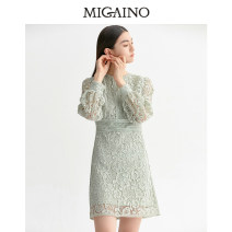 Dress Summer 2020 Light green 150/76A/XS,155/80A/S,160/84A/M,165/88A/L,170/92A/XL Middle-skirt singleton  Long sleeves Sweet Crew neck middle-waisted other zipper A-line skirt bishop sleeve Others 25-29 years old Type A Migaino / manyanu Hollow, lace MK12DC020 More than 95% other polyester fiber
