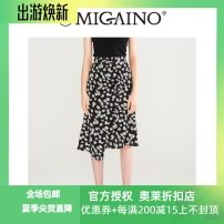skirt Summer 2021 150/58A/XS,155/62A/S,160/66A/M,165/70A/L,170/74A/XL Flowers on black background Mid length dress gorgeous High waist Irregular Broken flowers Type A 25-29 years old More than 95% Migaino / manyanu polyester fiber