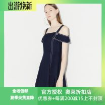 Dress Spring of 2019 Denim blue 150/76A/XS,155/80A/S,160/84A/M,165/88A/L,170/92A/XL Mid length dress singleton  Short sleeve Crew neck Loose waist other zipper Cake skirt routine 25-29 years old Type A Migaino / manyanu zipper MJ13DD157 More than 95% other cotton