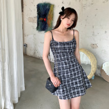 Dress Summer 2021 Picture color XS,S,M,L Short skirt singleton  commute High waist lattice A-line skirt routine camisole 18-24 years old Type A Retro 31% (inclusive) - 50% (inclusive)