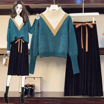 Women's large Winter 2020 Pleated skirt, sweater, sweater + pleated skirt Large XL, large XXL, large XXL, large XXXXL, large L sweater Two piece set commute easy thick Socket Long sleeves Korean version routine polyester printing and dyeing 18-24 years old 71% (inclusive) - 80% (inclusive)