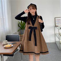 Fashion suit Autumn 2020 Average size Pink suspender skirt, khaki suspender skirt, black sweater, white sweater 18-25 years old
