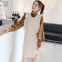 Fashion suit Autumn of 2019 S,M,L,XL Black suit, apricot suit, khaki suit, shirt, blue, black strap skirt, khaki strap skirt, apricot strap skirt, yellow plaid shirt, Black Plaid shirt Other / other