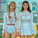 one piece  SHIYU S,M,L,XL A triangle, B skirt Skirt one piece With chest pad without steel support polyester fiber female Long sleeves Casual swimsuit