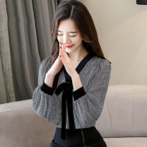 Lace / Chiffon Spring 2020 S,M,L,XL,2XL,3XL Long sleeves commute Socket singleton  easy Regular V-neck lattice bishop sleeve 25-29 years old Other / other Bow tie, lace up, open line decoration Korean version 31% (inclusive) - 50% (inclusive) cotton