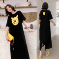Dress Summer 2020 Black, orange L,XL,2XL,3XL longuette singleton  Short sleeve commute Crew neck Loose waist other Socket other routine Others 18-24 years old Type H Other / other Korean version printing 6126# More than 95% other cotton