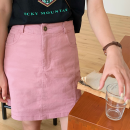 skirt Summer 2021 S,M,L Lake blue, off white, light pink, pure black Short skirt commute High waist A-line skirt Solid color Type A 18-24 years old 31% (inclusive) - 50% (inclusive) Denim cotton