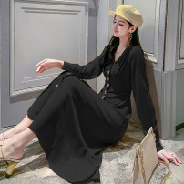 Dress Spring 2021 Khaki black S M L XL longuette singleton  Long sleeves commute V-neck High waist Solid color Single breasted A-line skirt routine 25-29 years old Button More than 95% other Other 100%