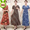 Middle aged and old women's wear Summer of 2019 Leopard flower, big red flower, pink flower, coffee flower, blue square flower, blue flower, rose red flower, dark blue flower, dark blue flower, sky blue flower, rust red flower, purple square flower, purple flower, Jujube Flower commute Dress Decor