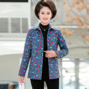 Middle aged and old women's wear Winter 2020, autumn 2020 1, 2, 3, 4, 5, 6, 7, 8, 9, 10 XL,XXL,XXXL,4XL,5XL fashion Cotton easy singleton  Flower and bird pattern 50-59 years old Cardigan moderate Polo collar routine routine pocket Polyester, cotton 96% and above Single breasted