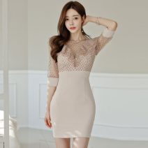 Dress Summer 2021 Picture color S,M,L,XL Middle-skirt singleton  commute Crew neck High waist Decor zipper Pencil skirt Others 18-24 years old Type X Korean version
