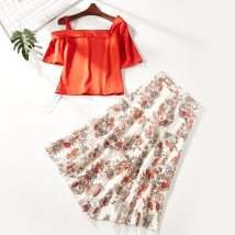 Fashion suit Summer of 2018 S M XL Red 0716-62 51% (inclusive) - 70% (inclusive) polyester fiber