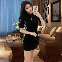 T-shirt Black, white S,M,L,XL,2XL Summer of 2019 Short sleeve Half open collar Self cultivation Medium length commute Lycra Lycra 71% (inclusive) - 85% (inclusive) 18-24 years old Korean version