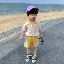 suit Sifangjia Blue, yellow 80cm,90cm,100cm,110cm,120cm,130cm male spring and autumn leisure time Short sleeve + pants 2 pieces routine There are models in the real shooting Socket nothing other cotton children Expression of love xt3006 Class B Other 100% Chinese Mainland Zhejiang Province