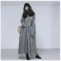 Dress Autumn of 2019 Gray, black Average size Mid length dress singleton  Long sleeves commute stand collar Loose waist stripe Single breasted other shirt sleeve Others 30-34 years old Type A Retro Pockets, stitching, making old More than 95% other hemp