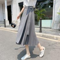 skirt Summer 2021 Medium length skirt Natural waist Splicing style Versatile Frenulum Solid color other Type A other S,M,L Grey, black, khaki