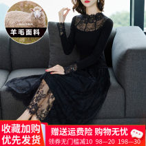 Dress Autumn 2020 Flower type 1, flower type 2, flower type 3, flower type 4 M,L,XL,2XL,3XL longuette singleton  Long sleeves commute Crew neck middle-waisted Solid color Socket A-line skirt other Others Type A Korean version Thread fixing, thread fixing, resin cutting knitting wool