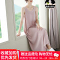 Dress Summer 2021 Blue, black, white, green, pink S,M,L,XL,2XL,3XL longuette singleton  Sleeveless commute Crew neck High waist Solid color Socket Big swing other camisole Type A Korean version Flocking, splicing, thread, resin fixation 31% (inclusive) - 50% (inclusive) Crepe de Chine silk