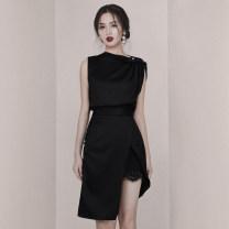 Dress Summer 2020 black S,M,L,XL Mid length dress singleton  Sleeveless commute One word collar High waist Solid color Irregular skirt Oblique shoulder Type X Ol style