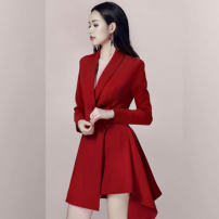 Dress Winter of 2019 gules S,M,L,XL Mid length dress singleton  Long sleeves commute Polo collar High waist Solid color double-breasted Big swing routine 25-29 years old Type X Other / other Ol style Pocket, lace up, panel, button 737-1# 31% (inclusive) - 50% (inclusive) other polyester fiber