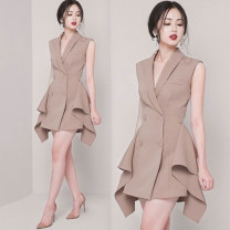 Dress Summer of 2019 Apricot, black S,M,L,XL Short skirt singleton  Sleeveless commute V-neck High waist Solid color Socket One pace skirt routine Others 25-29 years old Dai Wan'er lady Button, button polyester fiber