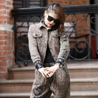 short coat Spring 2021 S,M,L,XL coffee Long sleeves have cash less than that is registered in the accounts routine singleton  Self cultivation street routine square neck Single breasted Leopard Print O-BAI Old buttons, sequins, stitches 1901 Leopard Print cotton cotton