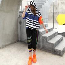 Fashion suit O-BAI 81% (inclusive) - 90% (inclusive) cotton Summer 2021 black M (85-115kg), l (115-130kg), XL (130-145kg)