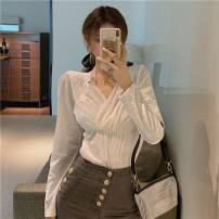 Women's large Winter 2020, autumn 2020, spring 2021 Black, white Large size L [100-120 Jin recommended], large XL [120-140 Jin recommended], large 2XL [140-160 Jin recommended], large 3XL [160-180 Jin recommended], large 4XL [180-200 Jin recommended] shirt singleton  commute Self cultivation moderate