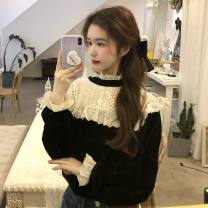 Women's large Winter 2020, spring 2021 black L (recommended weight: 100-120 kg), XL (recommended weight: 120-140 kg), 2XL (recommended weight: 140-160 Jin), 3XL (recommended weight: 160-180 Jin), 4XL (recommended weight: 180-200 Jin) T-shirt singleton  commute easy moderate Socket Long sleeves other