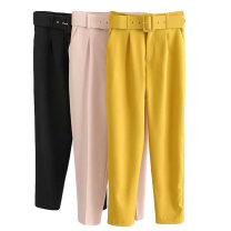Suit pants / suit pants XS,S,M,L Black, yellow, pink Summer of 2019 High waist trousers routine Europe and America