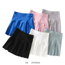 skirt Spring 2021 S,M,L White [1067], black [1067], pink [1067], blue [1067], light gray [1067], greyish green [1067] Short skirt street High waist Pleated skirt Solid color Type A 51% (inclusive) - 70% (inclusive) fold Europe and America