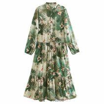 Dress Summer 2020 XS,S,M,L Mid length dress singleton  Long sleeves street Decor Socket printing Chiffon Europe and America