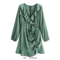 Dress Spring 2021 Picture color [1104] S,M,L Short skirt singleton  Long sleeves street V-neck High waist Solid color Socket Ruffle Skirt routine Lotus leaf edge 51% (inclusive) - 70% (inclusive) Europe and America