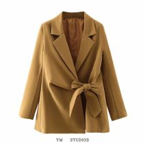suit Autumn 2020 Camel [27684], black [27684-1] S,M,L Long sleeves routine easy tailored collar street Solid color Frenulum