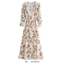 Dress Spring 2021 Decor S,M,L Mid length dress singleton  Long sleeves street V-neck High waist Decor other other routine Others More than 95% other other Europe and America