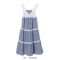 Dress Summer 2021 Picture color [2121] S,M,L longuette singleton  Sleeveless street V-neck High waist lattice Socket Printing, splicing 51% (inclusive) - 70% (inclusive) cotton Europe and America