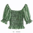 shirt Green Grid [2854] S,M,L Summer 2020 PU 51% (inclusive) - 70% (inclusive) Short sleeve street square neck Socket lattice Self cultivation Europe and America