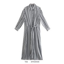 Dress Spring 2021 Picture color [9933] XS,S,M,L longuette singleton  Long sleeves street Polo collar stripe Single breasted 71% (inclusive) - 80% (inclusive) Europe and America