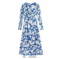 Dress Spring 2021 Picture color [1020] XS,S,M,L longuette singleton  Long sleeves street square neck High waist Decor Socket routine printing 51% (inclusive) - 70% (inclusive) polyester fiber Europe and America