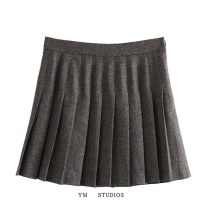 skirt Spring 2021 XS,S,M,L Picture color [4785] Short skirt street High waist Pleated skirt lattice Type A 81% (inclusive) - 90% (inclusive) fold Europe and America