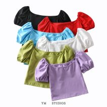 T-shirt White, black, light blue, purple, red, grass green S,M,L Summer 2020 Short sleeve square neck Self cultivation have cash less than that is registered in the accounts puff sleeve street cotton 96% and above Europe and America