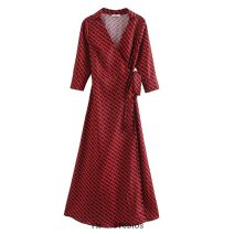 Dress Summer 2020 Picture color [9382] XS,S,M,L longuette singleton  three quarter sleeve street V-neck Lace up, printed Europe and America