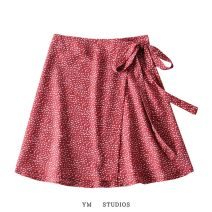 skirt Summer 2020 Average size Short skirt street Natural waist Decor Lace up, printed Europe and America