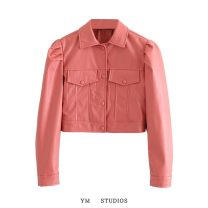 leather clothing Other / other Autumn 2020 S,M,L have cash less than that is registered in the accounts Long sleeves Self cultivation street Polo collar PU 96% and above
