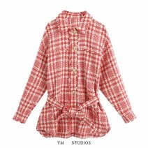 short coat Autumn 2020 XS,S,M,L Picture color [2803] Long sleeves routine routine singleton  easy street Polo collar Single breasted lattice
