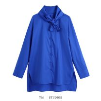 shirt Blue [1112] XS,S,M,L Spring 2021 cotton 81% (inclusive) - 90% (inclusive) Long sleeves street Single row multi button Solid color bow Europe and America