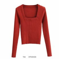 Wool knitwear Autumn 2020 S,M,L Rust red, light khaki Long sleeves singleton  Socket acrylic fibres 51% (inclusive) - 70% (inclusive) have cash less than that is registered in the accounts routine street Self cultivation square neck Solid color Socket Europe and America