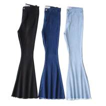 Jeans Autumn of 2018 Light blue, dark blue, black S,M,L trousers High waist routine sb1807581222