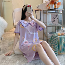 Nightdress Other / other M,L,XL,XXL Cartoon Short sleeve pajamas Middle-skirt summer Cartoon animation youth Crew neck cotton printing 81% (inclusive) - 95% (inclusive) pure cotton 200g and below