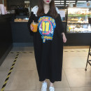 T-shirt black Average size Summer 2021 Short sleeve Crew neck easy Medium length Bat sleeve commute cotton 86% (inclusive) -95% (inclusive) Korean version originality Cartoon animation, solid color Lace